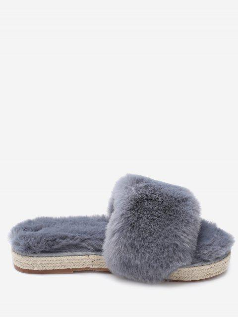 trendy Espadrille Sole Indoor Faux Fur Strap Slippers - GRAY 36 Mobile