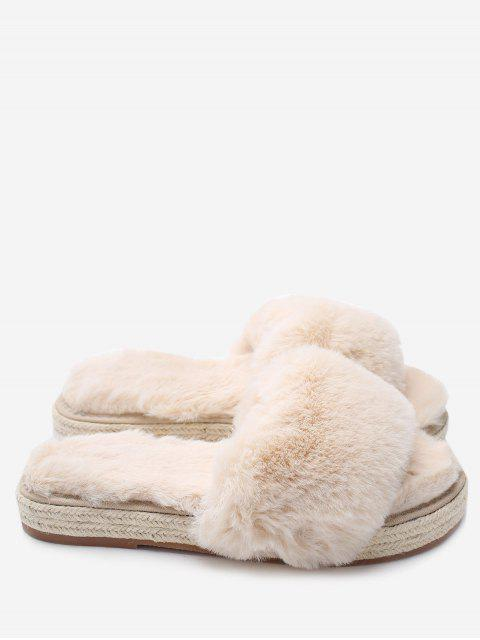 women's Espadrille Sole Indoor Faux Fur Strap Slippers - APRICOT 38 Mobile