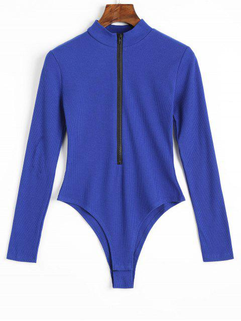 ladies Knitted Long Sleeve Front Zip Bodysuit - BLUE L Mobile