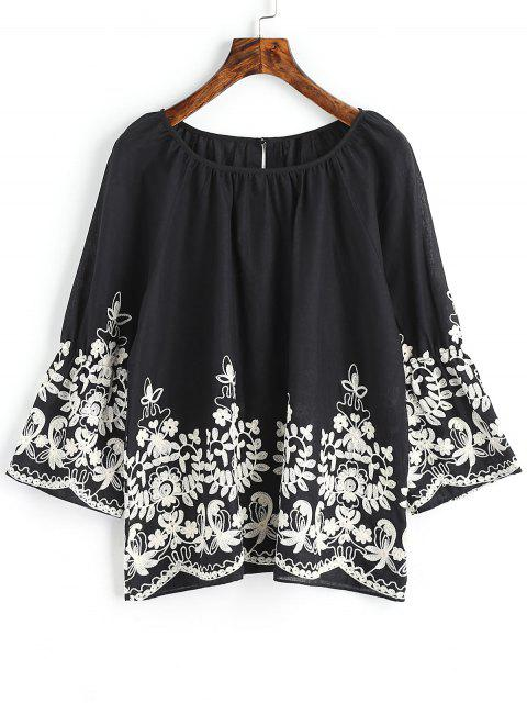 new Raglan Sleeve Floral Embroidered Blouse - BLACK 2XL Mobile