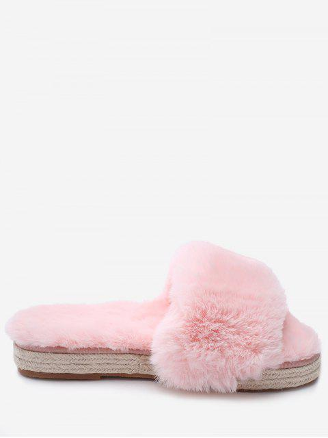 shop Espadrille Sole Indoor Faux Fur Strap Slippers - LIGHT PINK 38 Mobile