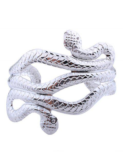 outfit Snake Shape Multilayered Cuff Bracelets - SILVER  Mobile