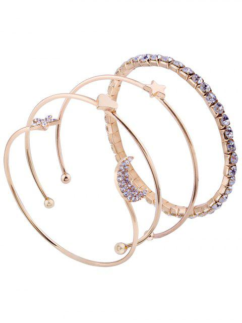 unique Rhinestone Moon Star Cuff Bracelet Set - GOLDEN  Mobile