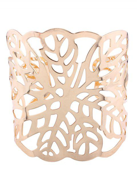 ladies Hollow Out Leaf Cuff Bracelets - GOLDEN  Mobile