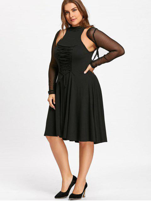 new Plus Size Lace Up Cutout Vintage Dress - BLACK XL Mobile