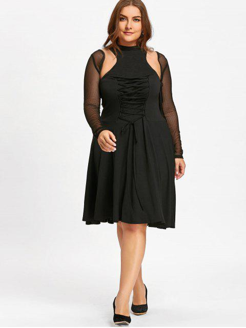 outfit Plus Size Lace Up Cutout Vintage Dress - BLACK 3XL Mobile