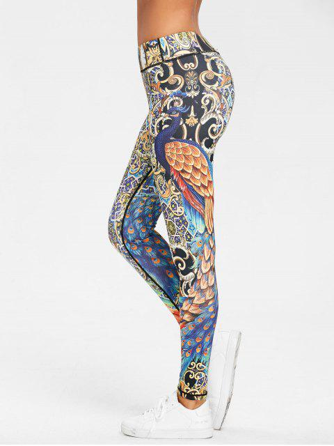fancy Peacock Feather Print Skinny Leggings - FLORAL M Mobile