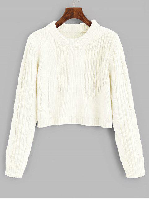 new Cable Knit Panel Pullover Cropped Sweater - OFF-WHITE ONE SIZE Mobile