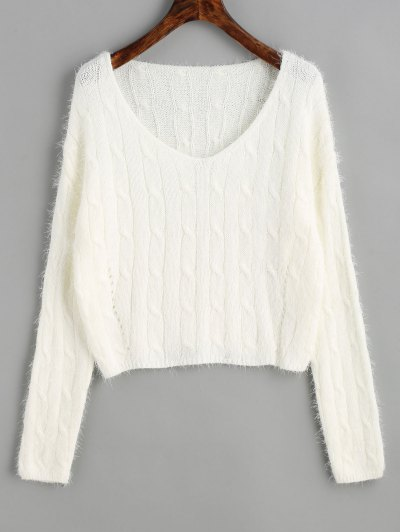 Zaful Textured Cropped Cable Knit Sweater