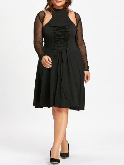 Plus Size Lace Up Cutout Vintage Dress - Black 3xl