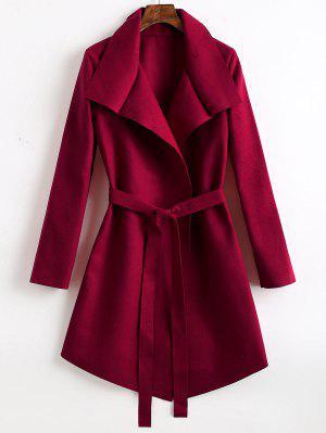 Abrigo de mezcla de lana asimétrica con cinturón