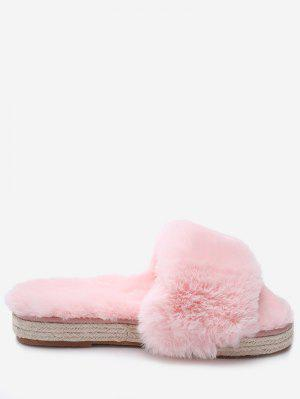 Espadrille Sole Indoor Faux Fur Strap Slippers