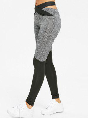 Cross Bandage Heather Two Tone Leggings