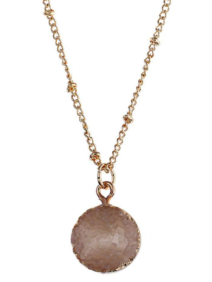 natural stone round pendant necklace