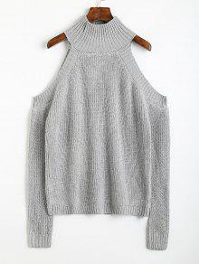 Buy Pullover Cold Shoulder High Neck Sweater - GRAY ONE SIZE