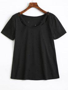 Trous Coton Découpé T-shirt - Noir L