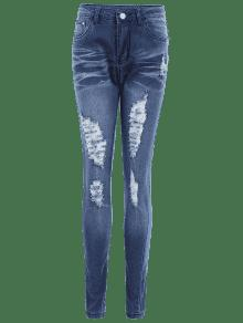 zerrissene high waist skinny jeans dunkel blau jeans xl. Black Bedroom Furniture Sets. Home Design Ideas