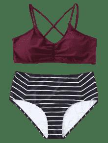 Rojo A Bikini M De 225;s Conjunto 2xl Vino Tiras De Rayas Grandes v4wCqa