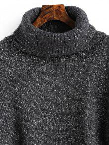 Heathered High Low Turtleneck Sweater DEEP GRAY: Sweaters ONE SIZE ...