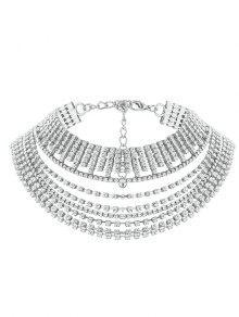Collar De Gargantillas De Diamantes De Imitación De Múltiples Capas - Plata