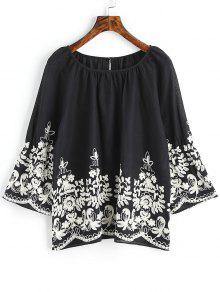 Raglan Sleeve Floral Bordado Blusa - Preto Xl