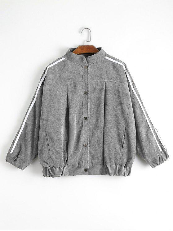 shop Contrast Stripe Corduroy Jacket - GRAY M