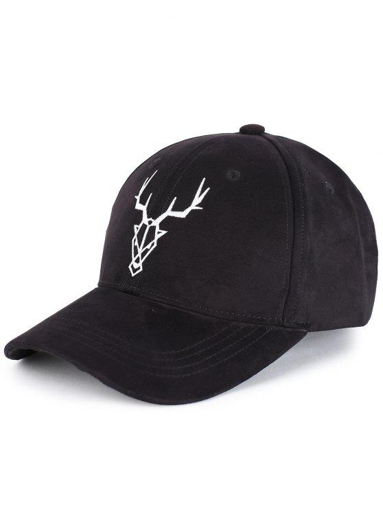 hot Elk Head Embellished Faux Suede Baseball Hat - BLACK