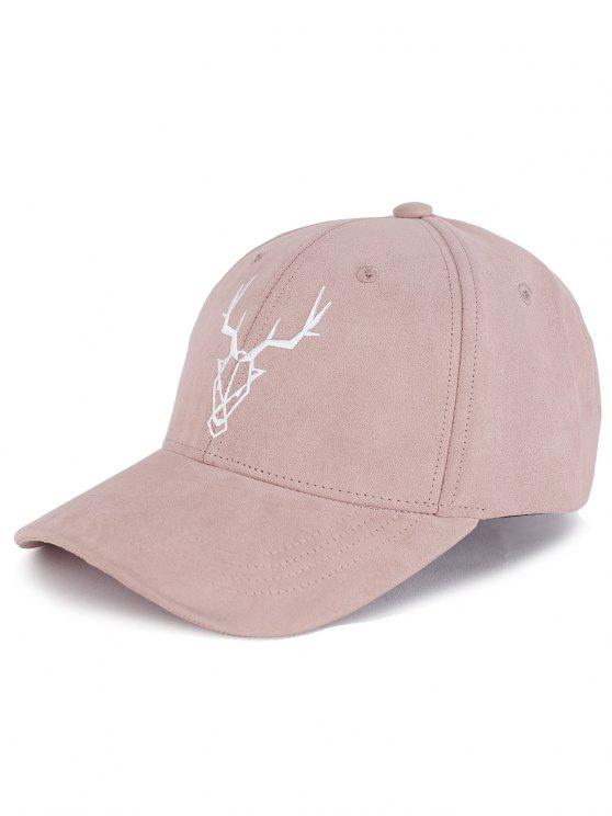 chic Elk Head Embellished Faux Suede Baseball Hat - PEONY PINK