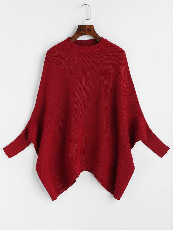 Plain Crew Neck Cape Sweater WINE RED: Sweaters ONE SIZE | ZAFUL