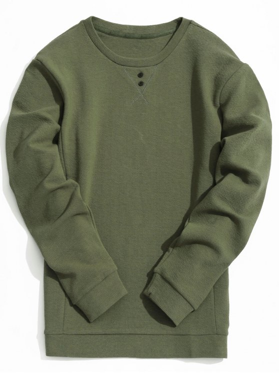 women's Mens Textured Sweatshirt - ARMY GREEN 2XL