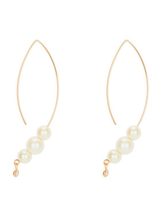 Unique Faux Pearl Drop Hoop Earrings Golden