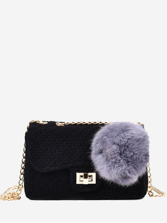 womens Chain Crossbody Bag With Pompom - BLACK