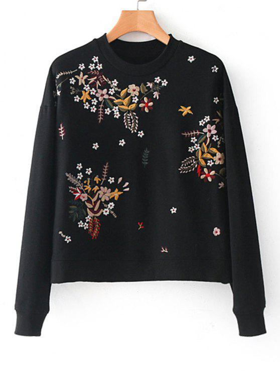 trendy Drop Shoulder Floral Embroidere Sweatshirt - BLACK L