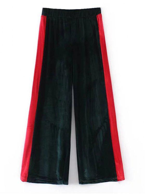 fashion Two Tone Velvet Wide Leg Pants - BLACKISH GREEN S