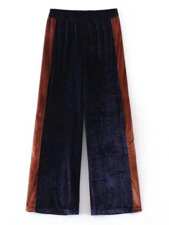 unique Two Tone Velvet Wide Leg Pants - PURPLISH BLUE L