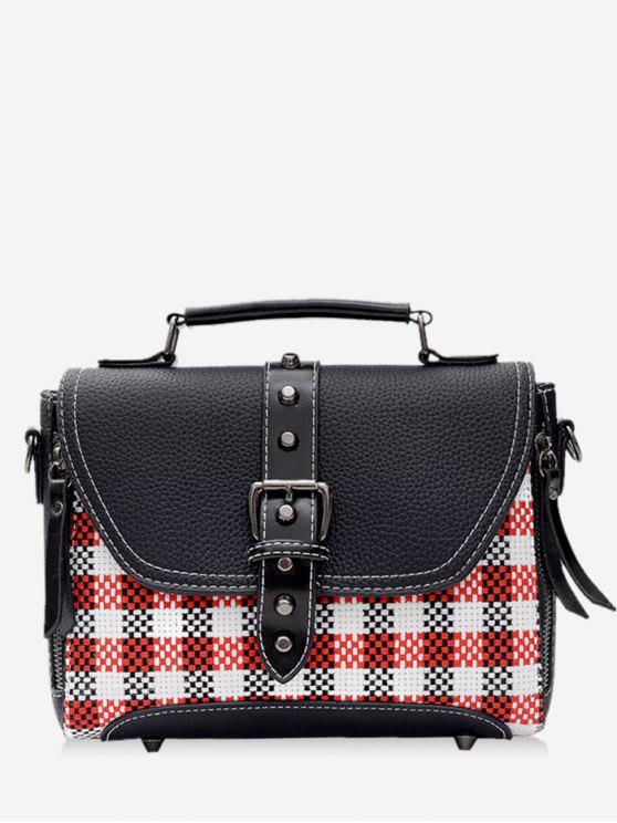 Studs Buckle Strap Plaid Handbag - Preto