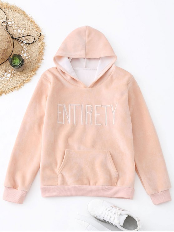 lady Entirety Embroidered Fleece Hoodie - PINK ONE SIZE