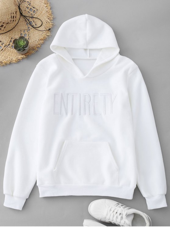 best Entirety Embroidered Fleece Hoodie - WHITE ONE SIZE