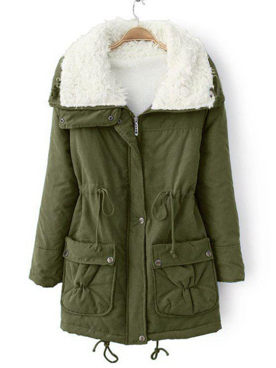 fashion Faux Pockets Zip Up Shearling Coat - ARMY GREEN M