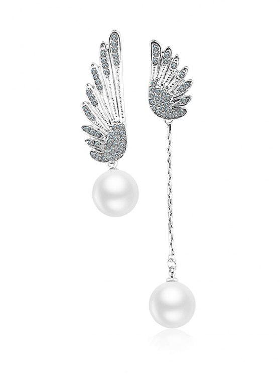 women Wings Irregular Stud Drop Earrings - SILVER