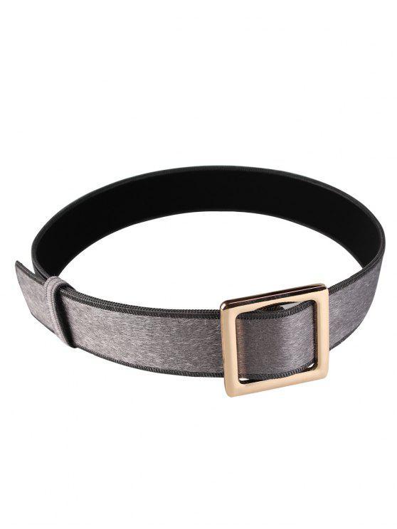 Cinturón de cinturón de imitación de gamuza adornado con hebilla cuadrada de metal - Gris