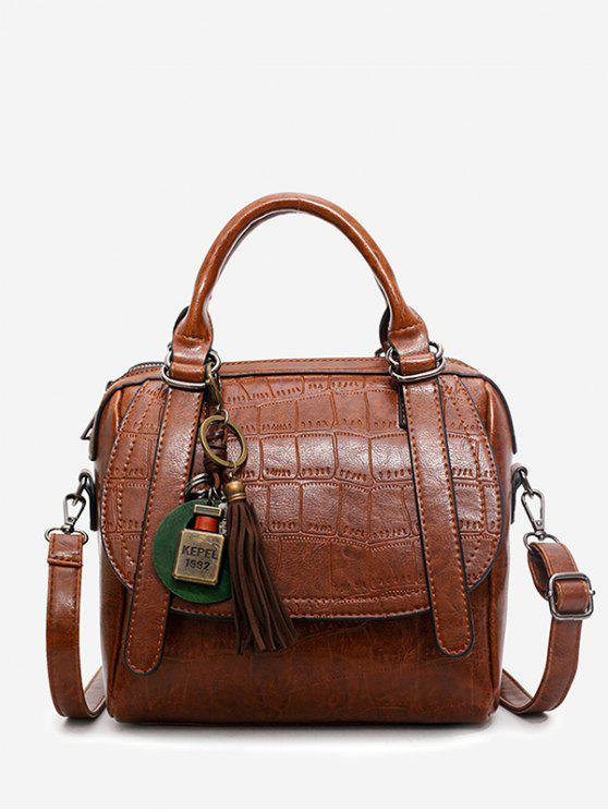 shop Embossed PU Leather Handbag With Strap - BROWN