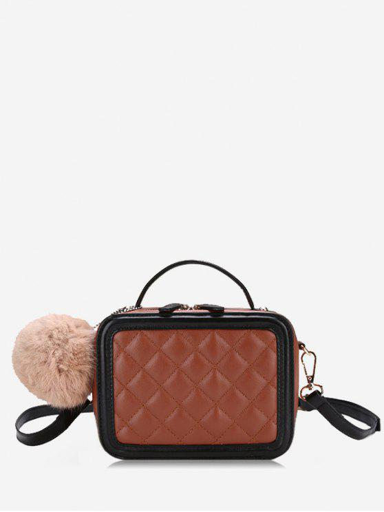Pompom Quilted Color Block Crossbody Bag - Castanha