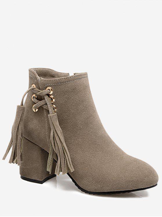 hot Chunky Heel Tassels Ankle Boots - BEIGE 39