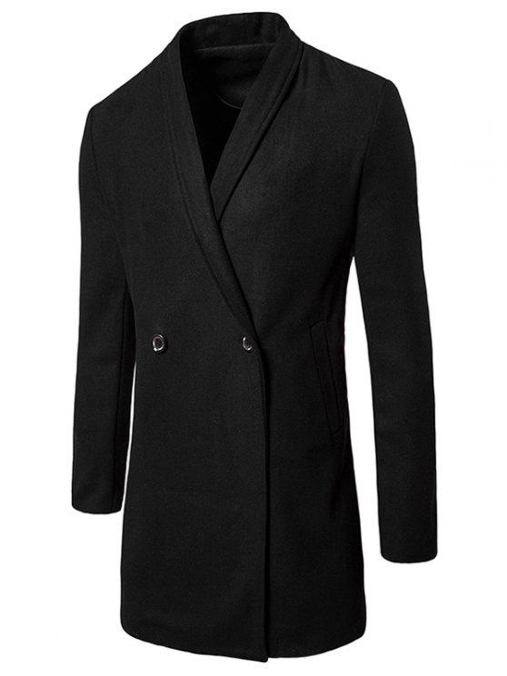 womens Two Button Shawl Collar Wool Blend Coat - BLACK M