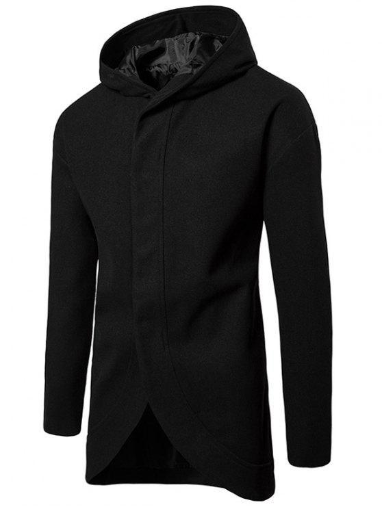 online Drop Shoulder Snap Button Hooded Wool Blend Coat - BLACK XL