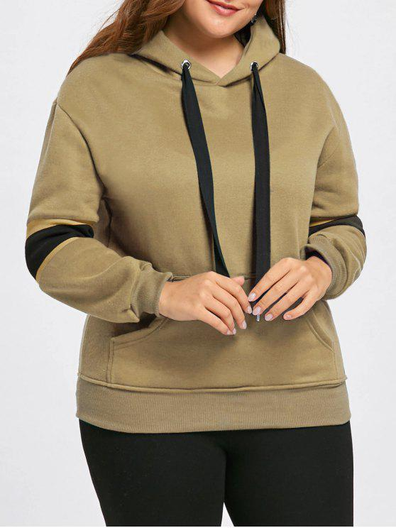 91d12b20b8c 35% OFF  2019 Plus Size Stripe Insert Fleece Lined Pocket Hoodie In ...