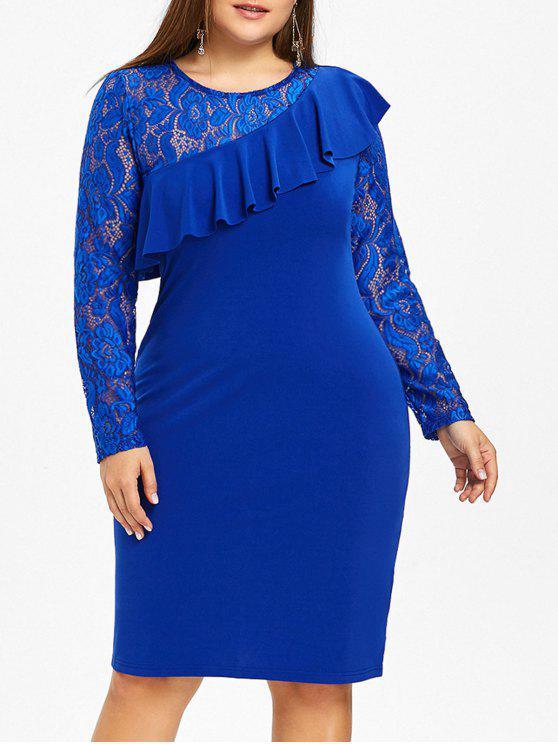 فستان الحجم الكبير كشكش دانتيل - أزرق 6XL