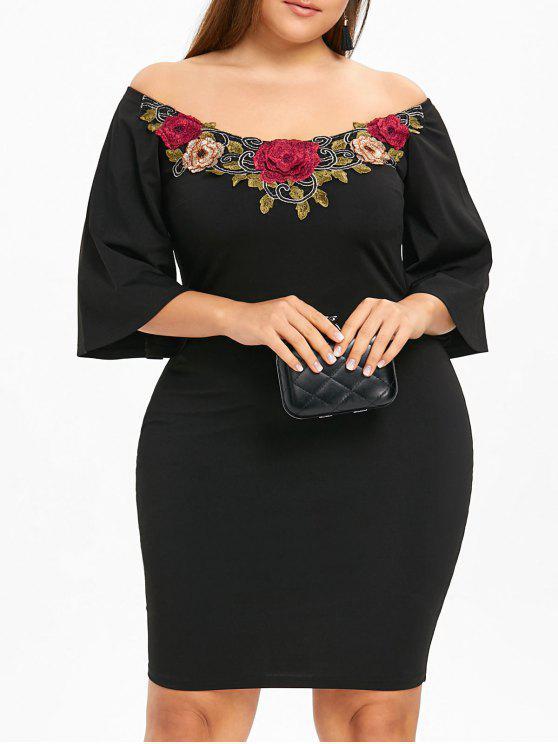فستان الحجم الكبير بلا اكتاف - أسود 5XL