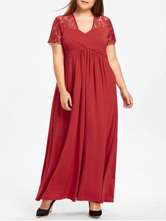 بالإضافة إلى حجم الدانتيل نير سوربليس فستان ماكسي - أحمر 6XL